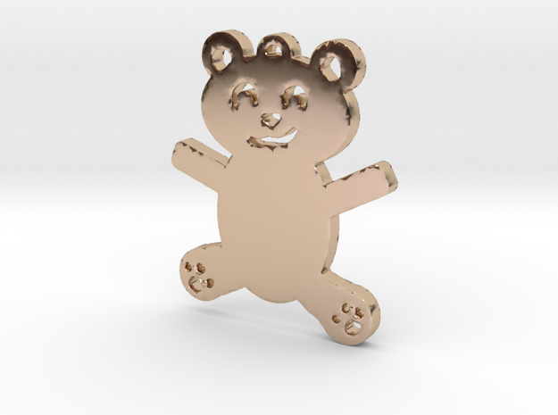 Cute Teddy Bear Necklace Pendant in 14k Rose Gold Plated Brass
