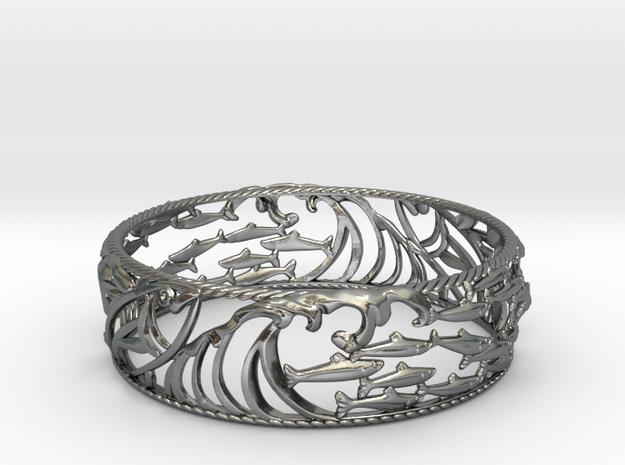 Sardine Wave Bracelet in Polished Silver