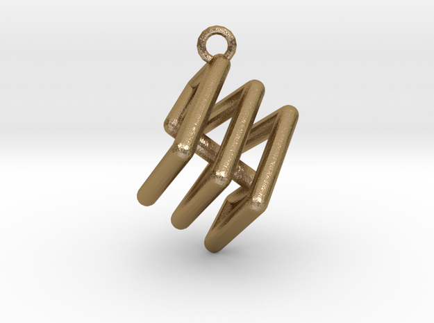 Ring-in-a-Cube-02 in Polished Gold Steel