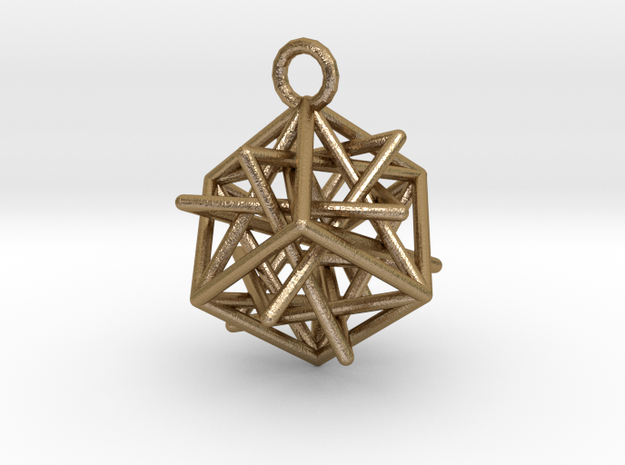 Star-in-Box in Polished Gold Steel