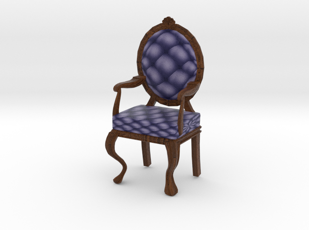 1:12 One Inch Scale NavyDark Oak Louis XVI Chair in Full Color Sandstone