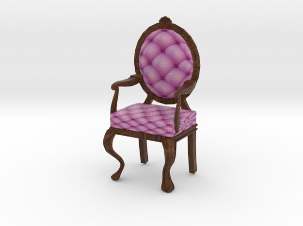 PinkDark Oak Louis XVI Oval Back Chair Half Scale in Full Color Sandstone