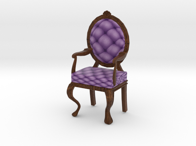 1:24 Half Inch Scale LavDark Oak Louis XVI Chair in Full Color Sandstone