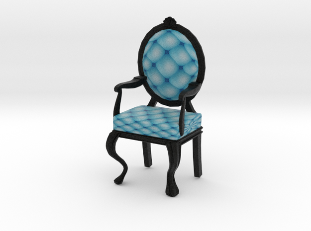 1:24 Half Inch Scale SkyBlack Louis XVI Chair in Full Color Sandstone