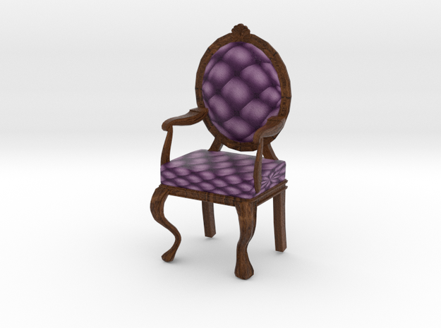 1:48 Quarter Scale VioletDark Oak Louis XVI Chair in Full Color Sandstone