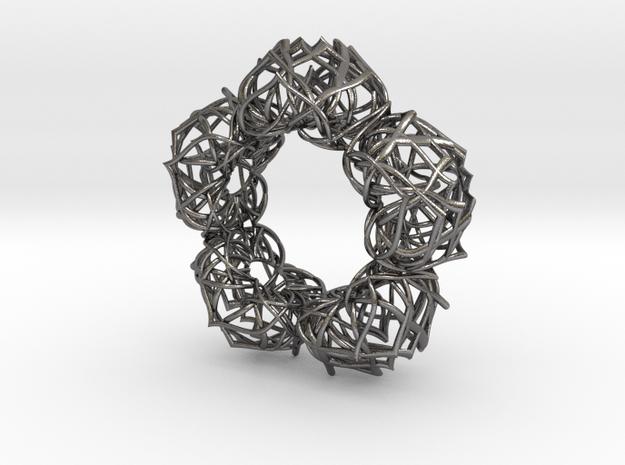 Bracelet The  lotus flower  size 2 3/4 (70mm) in Polished Nickel Steel