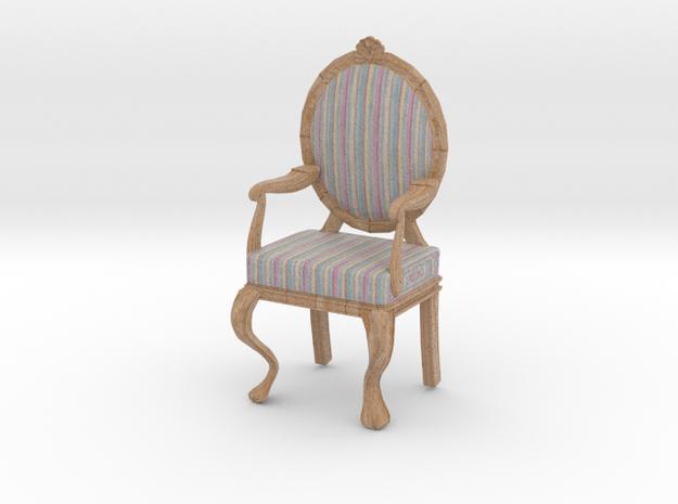 1:12 Scale Pastel Striped/Pale Oak Louis XVI Chair in Full Color Sandstone