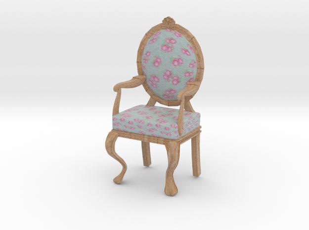 1:12 Scale Blue Chintz/Pale Oak Louis XVI Chair in Full Color Sandstone