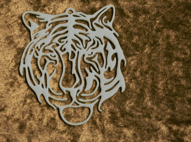 Big Tiger Amulet in White Natural Versatile Plastic