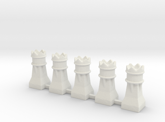 CB-06 Chimneys 00 Gauge in White Natural Versatile Plastic