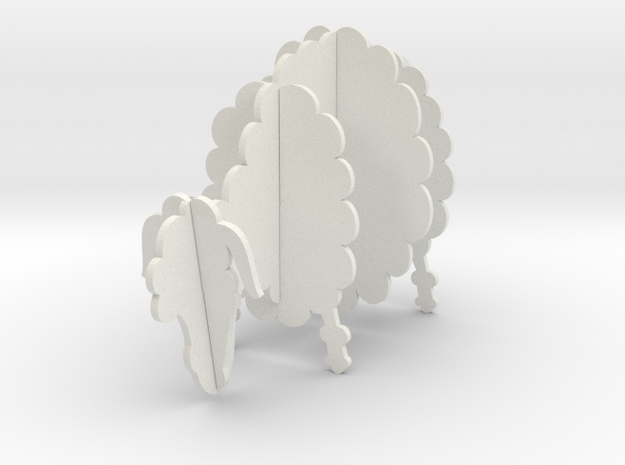 Wooden Sheep A 1:12 in White Natural Versatile Plastic