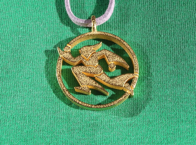 Running Wizard Pendant in Polished Gold Steel