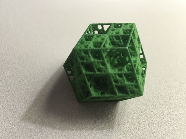 Koch Rhombododecahedron 3d printed Green Strong & Flexible
