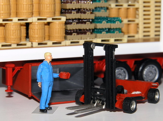 1:87 forklift with transportbox - Mitnahmestapler  in Smooth Fine Detail Plastic