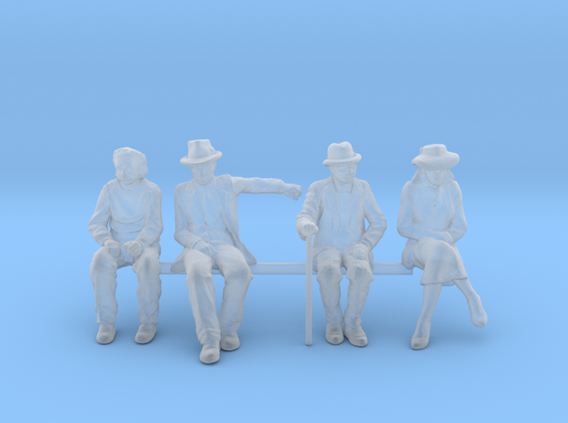 1:64 scale 4 figure pack seated Noir in Smooth Fine Detail Plastic