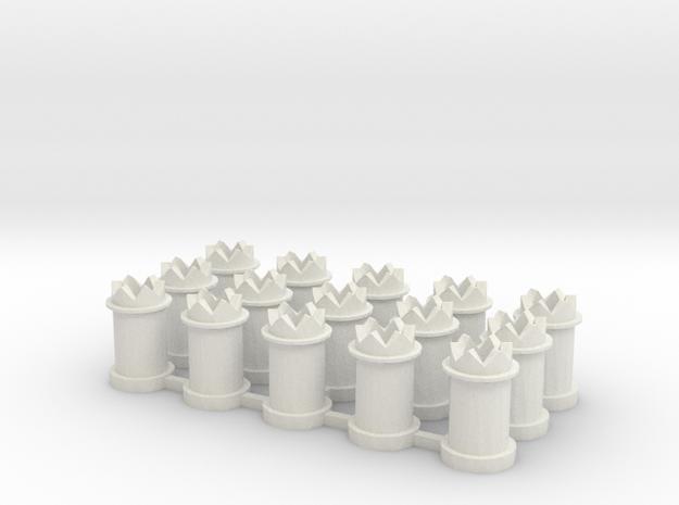 CB-02 - 15-Chimneys 00 gauge in White Strong & Flexible