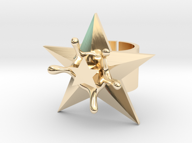 StarSplash statement ring size 6 US open design in 14k Gold Plated Brass