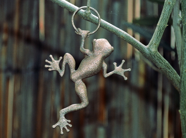 Frog Hug Pendant in Polished Bronzed Silver Steel