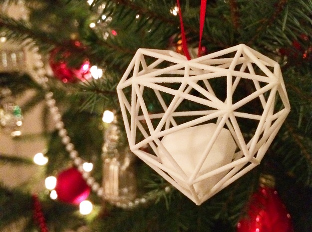 Heart Christmas ornament in White Strong & Flexible