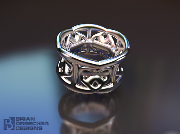 Harmony Handz Ring in Polished Bronzed Silver Steel