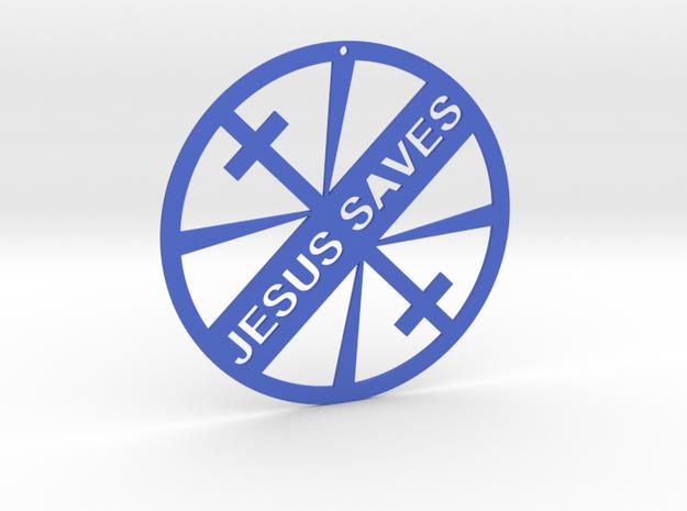 JESUS SAVES in Blue Processed Versatile Plastic