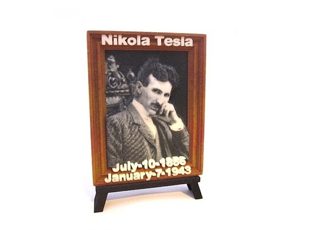 'Nicola Tesla' 3D Relief Framed Micro-Painting in Full Color Sandstone