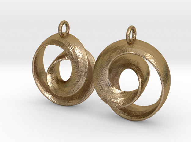 Ear-Rings-01 in Polished Gold Steel