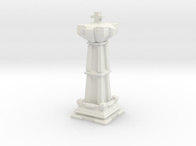 King - Mini Chess Piece in White Natural Versatile Plastic