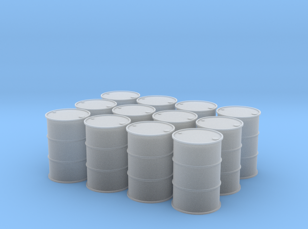 1/64 (1 Dozen) 55Gal Drums in Smooth Fine Detail Plastic