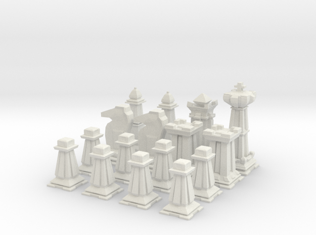 Mini Chess Set - One Player's Pieces in White Strong & Flexible