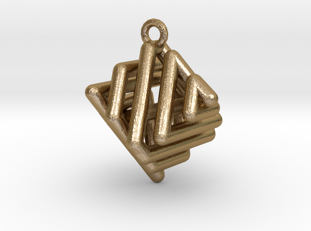 Ring-in-a-Cube in Polished Gold Steel