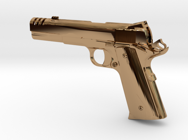 1:12 scale 1911 pistol with compensator in Polished Brass