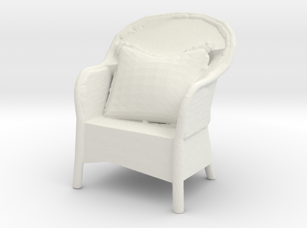 Miniature 1:48 Wicker Rattan Outdoor Chair in White Natural Versatile Plastic