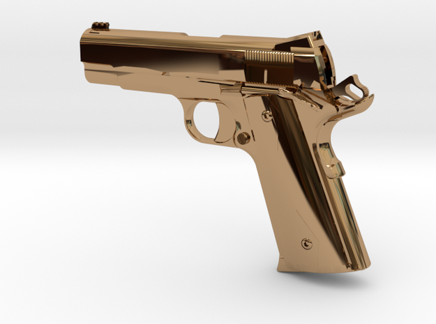 1:12 scale 1911 Pro Carry pistol in Polished Brass