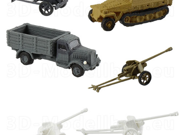 1/200 scale Pak40 german anti tank gun set of 6 in Smooth Fine Detail Plastic