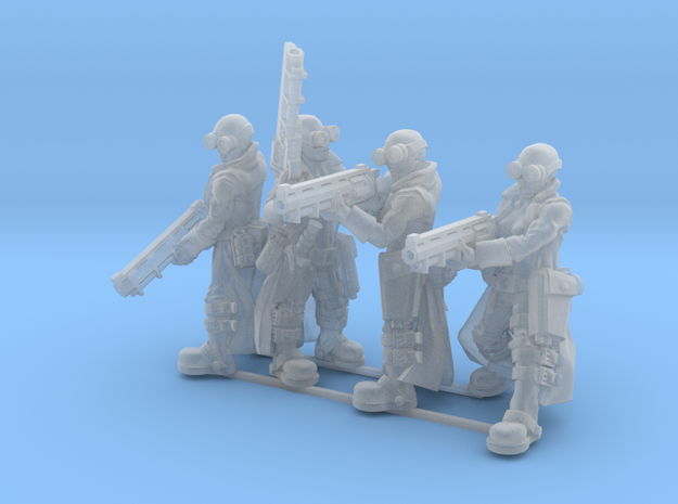 Female Stealth Gang with Revolver Rifles in Smooth Fine Detail Plastic
