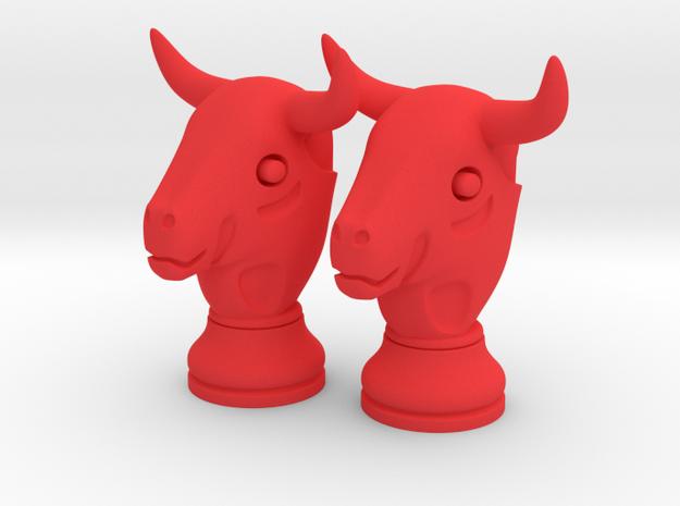 Pair Chess Bull Big | Timur Thaur in Red Processed Versatile Plastic