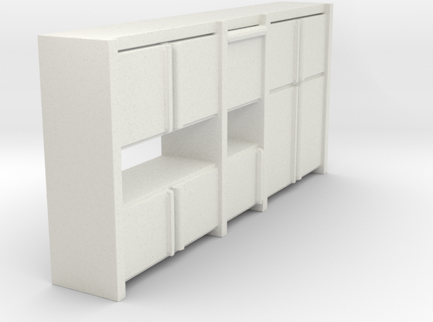 A 003 Sideboard living wall Schrank cupboard 1:87  in White Natural Versatile Plastic