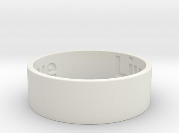 Live Laugh Love Ring Size 9 in White Natural Versatile Plastic