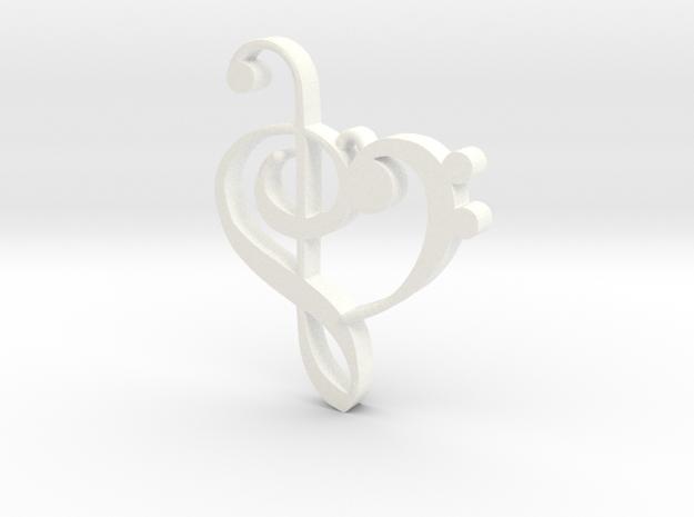 G-clef Heart Pendant in White Processed Versatile Plastic