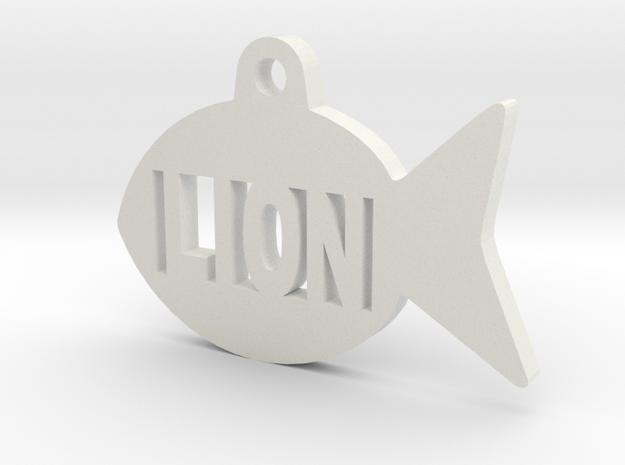 Gold Fish Pet ID Tag - Lion in White Natural Versatile Plastic