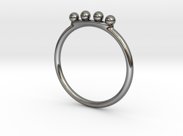 4 Bead Stacking Ring  in Fine Detail Polished Silver