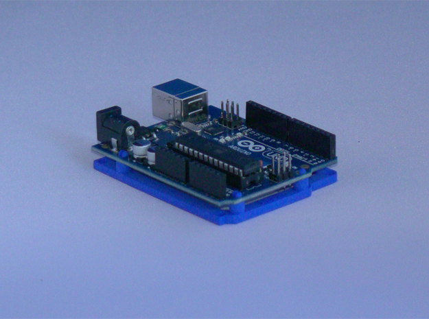 Low desktop stand for Arduino Uno / Leonardo / Yun in Blue Strong & Flexible Polished