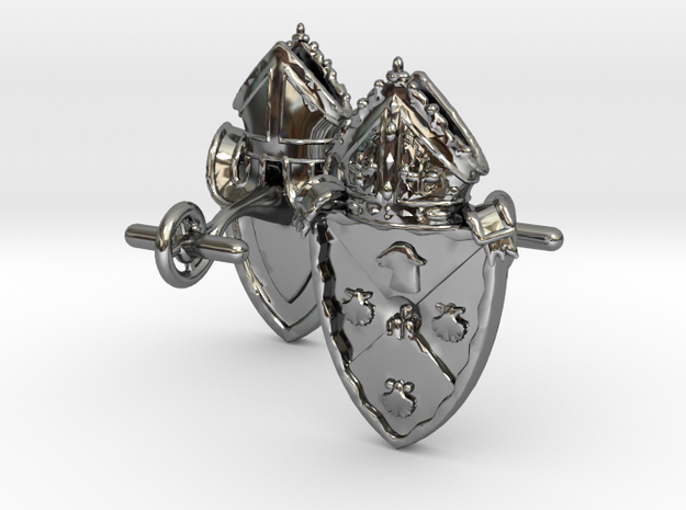 Heraldic Cufflinks [Rockville Diocese] in Fine Detail Polished Silver