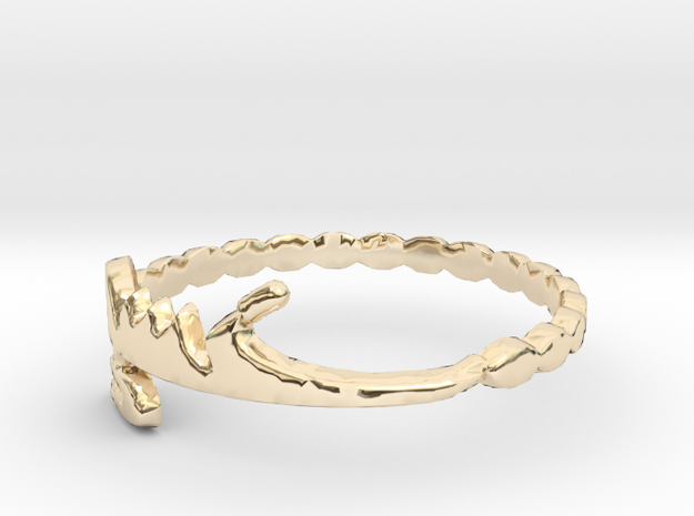 Simple Eshgh Love Ring, Persian Art, Ring Size 7 in 14k Gold Plated Brass