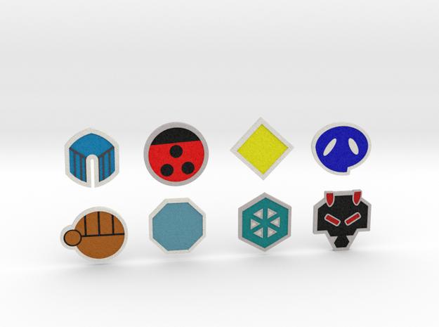 Johto Pokemon Badges in Full Color Sandstone