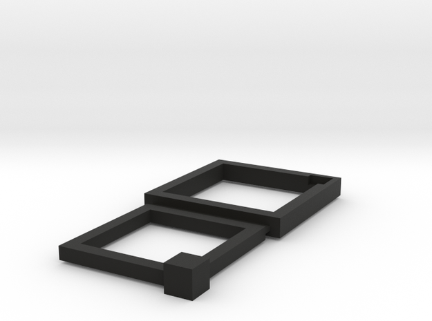 16+19mm Squared Connecting Rings in Black Natural Versatile Plastic