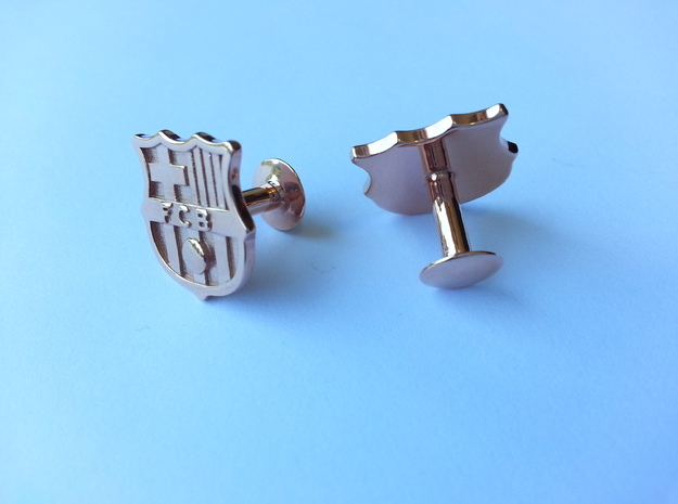 FC Barcelona Cufflinks (precious metals) in 14k Rose Gold Plated
