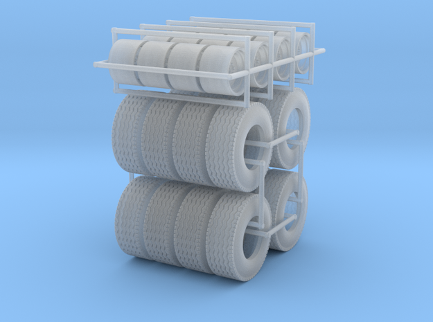 1/64  Floater Wheels and Tires (8 Sets) in Smooth Fine Detail Plastic