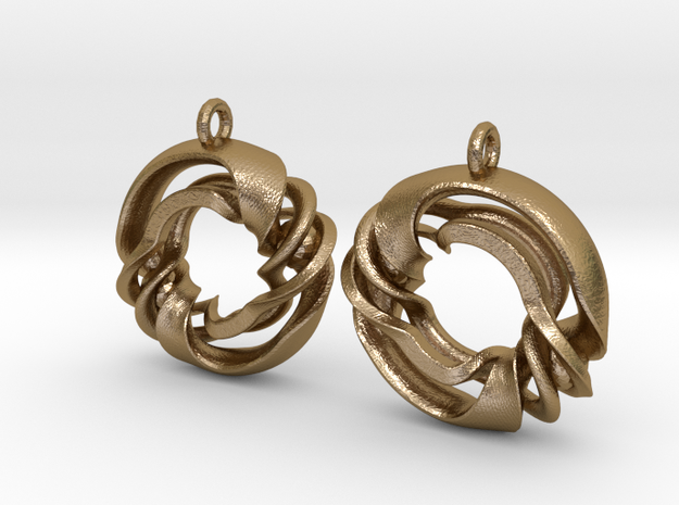 Fantasy-02-Earrings in Polished Gold Steel